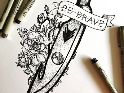 Hunter's knife handletter typography wildflowers ink illustation destiny 2 destiny