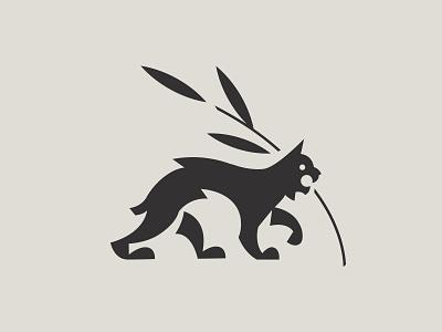 Cat Logo stylised geometric white black animal cat lynx logo