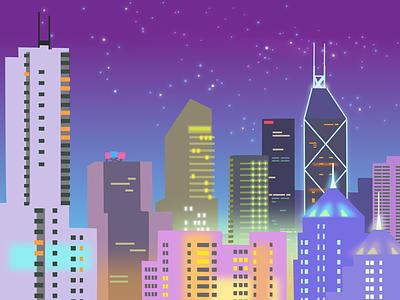 Glowy city kong hong stars night glow city
