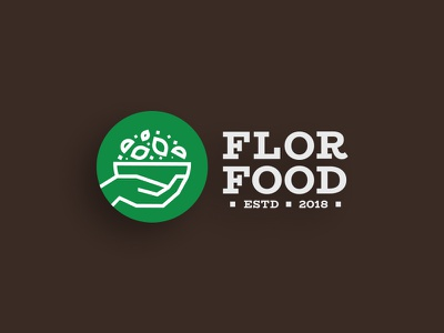 Flor Food iran persepolis shiraz green healthyfood badge lettermark illustration design brand graphic logoinspiration branding miladrezaee logodesign symbol mark logo food