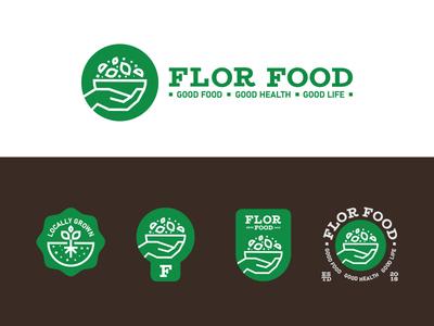 Flor Food vegetation locallygrown food healthyfood emblem badge package symbol logotype lettering monogram graphic logoinspiration branding miladrezaee logodesign mark identity brand logo