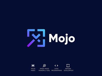 Mojo lettermarkm branding monogram symbol mark design logodesign logo developer web css framework magic mojo