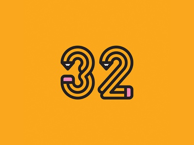 32 for 32-years-old man pencil pen logoinspiration logodesign logo symbol design mdc monogram lettermark letter number 32