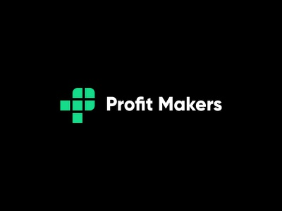 Profit Makers mark modern minimal plus miladrezaee mdc lettermark p monogram p financial cryptocurrency stock profit