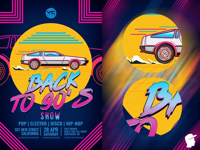 Back to the 90's show Flyer Template new wave music marty doc delorean daminda boombox backtothefuture back 90s 80s