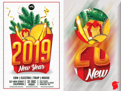 Happy New Year 2019 Flyer Template x-mas vibes red party flyer party nye invitation nye nightclub new years eve new year 2019 new year merry christmas gold flyer design flyer dj daminda club flyer christmas party 2019 party