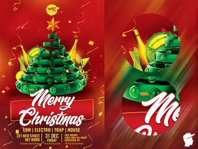Merry Christmas 2019 Flyer Template red photoshop party flyer party nye new years eve new year new merry christmas green event electronic edm festival edm dj flyer template dj flyer dj event dj daminda christmas