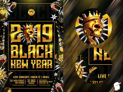 Black New Year and Christmas 2019 Flyer Template red party flyer party nye newyear new years eve new year merry christmas green event electronic edm festival edm dj flyer template dj flyer dj event dj daminda christmas 2in1