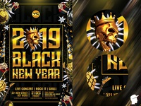 Black New Year and Christmas 2019 Flyer Template