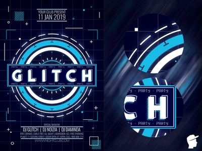 Glitch Party Flyer 2019 Template hud science ripple rave poster photoshop photo noise glitch party glitch effects effect editable disturb distortion digital daminda-design daminda cmyk channel shift
