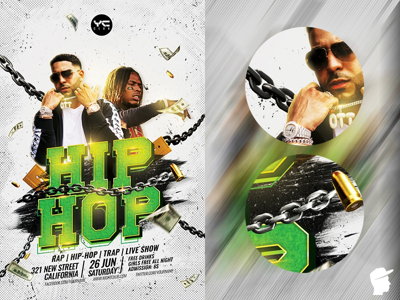 Hip Hop Party 2019 Flyer Template style step up rapper rap flyer rap psdflyer psd party nwa night music money mc logo hiphop flyer hip hop grunge green graffiti daminda