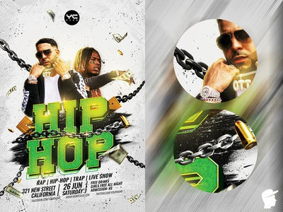 Hip Hop Party 2019 Flyer Template style step up rapper rap flyer rap psdflyer psd party nwa night music money mc logo hiphop flyer hip hop grunge green graffiti daminda