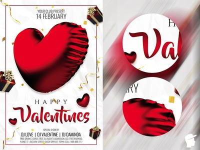 Happy Valentines 2019 Flyer Template vilentines valentines day valentine flyer romantic red heart red present poster design party night new love party love holydays heart happy valentines for you daminda