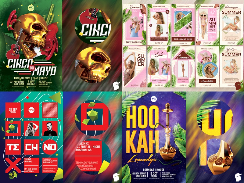 "My ""Top 4"" 2018 on Dribbble top 4 2018 top artist logo illustration club dj flyer template dj event edm festival daminda"