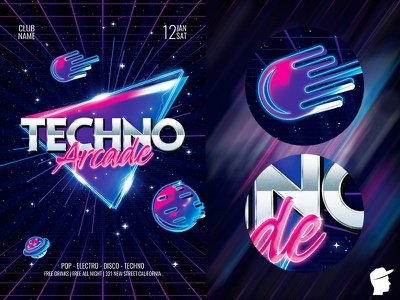 Techno Arcade New Flyer Template arcade game arcade sounds sound session planet party music melody festival electronic electro edm dj dance daminda concert club abstract 90s
