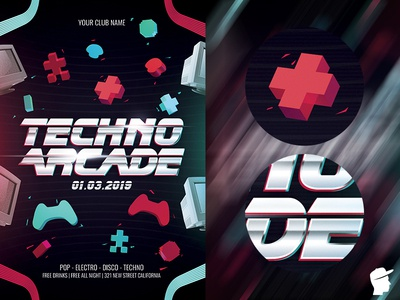 Techno Arcade New 2 Flyer Template gamepad techno sound session retrocade party music game festival electronic electro edm dj dance daminda black bass arcade abstract