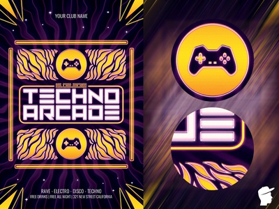 Techno Arcade New 3 Flyer Template club dj daminda joystick button 90s console poster vintage bit machine template play video pixel game retro computer design arcade