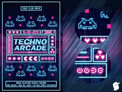Techno Arcade New 4 Flyer Template party neon light neon music instrument flyer festival electronic electro edm dj dance daminda concert club bundle bash arcade abstract 90s