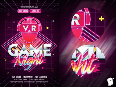 VR Game Night Flyer Template virtual vr session retrocade person party hi-tech gaming gamer game show game futuristic future flyer template flyer digital black bass arcade abstract