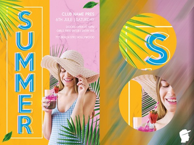 Summer Flyer Template 2019 tropical tree travel sun summertime summer spring flyer spring break spring red cup red people nature holiday green fun daminda celebration butterfly adventure