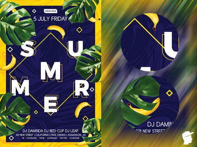 Summer Flyer Template 2019 2 sunshine summer flyer summer sea print templates party palm tree palm minimalism minimal holiday girl dj daminda blue bikini beach party beach flyer beach banana