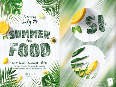 Summer Food Fest 2019 Flyer Template summer sky sea open air lemon hot graphic design gifts gift fruit food festival fest design daminda cover band cool concert band banana