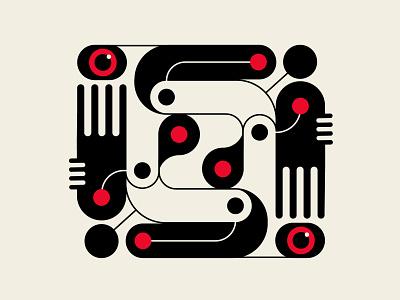 Bauganic No. 1 organic bauhaus patterns design abstract design vector beige black red geometric illustration