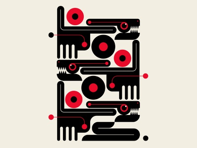 Totem primitive dogs snakes abstract design black red vector design illustration
