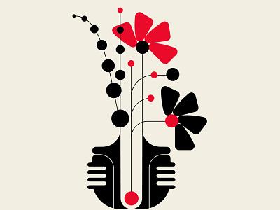 Bauquet bouquet vase flower flora flowers black red abstract design vector design geometric illustration