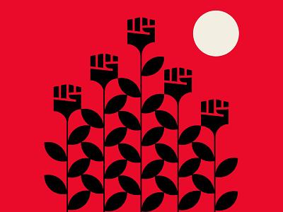 RISE fist abstract design design black red vector illustration blacklivesmatter