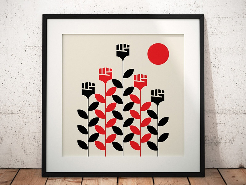 """RISE"" 100% of proceeds donated to ColorOfChange.org giclee art prints art abstract design black red vector geometric illustration blacklivesmatter"