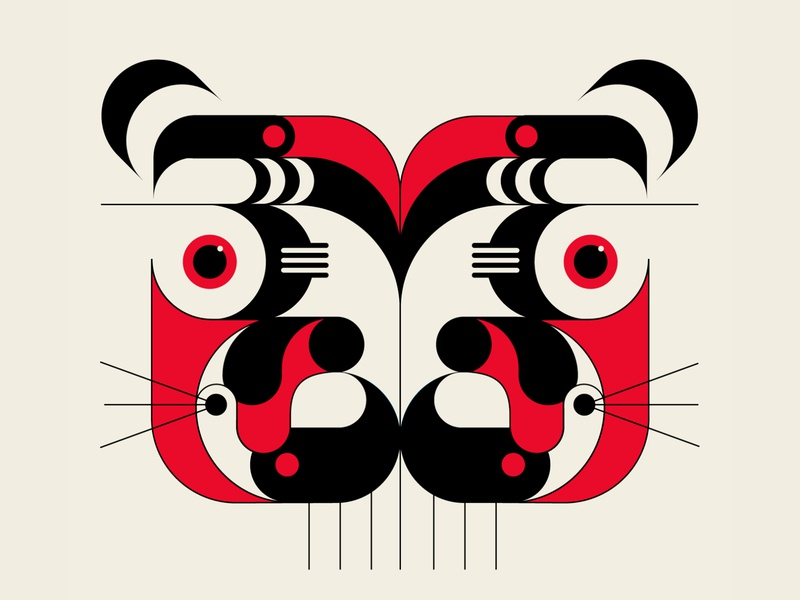 Tiger Queen tiger abstract design geometric black red vector illustration