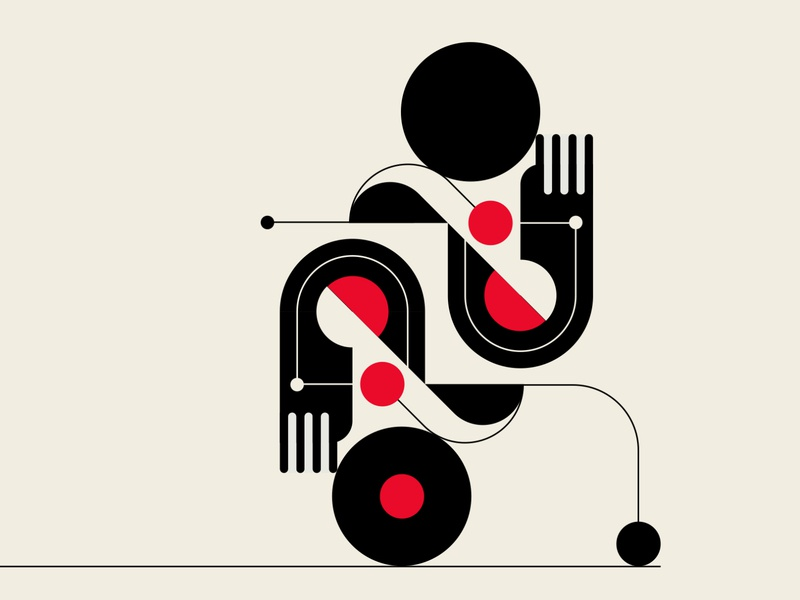 Roller Boogie patterns abstract design black red design geometric vector illustration