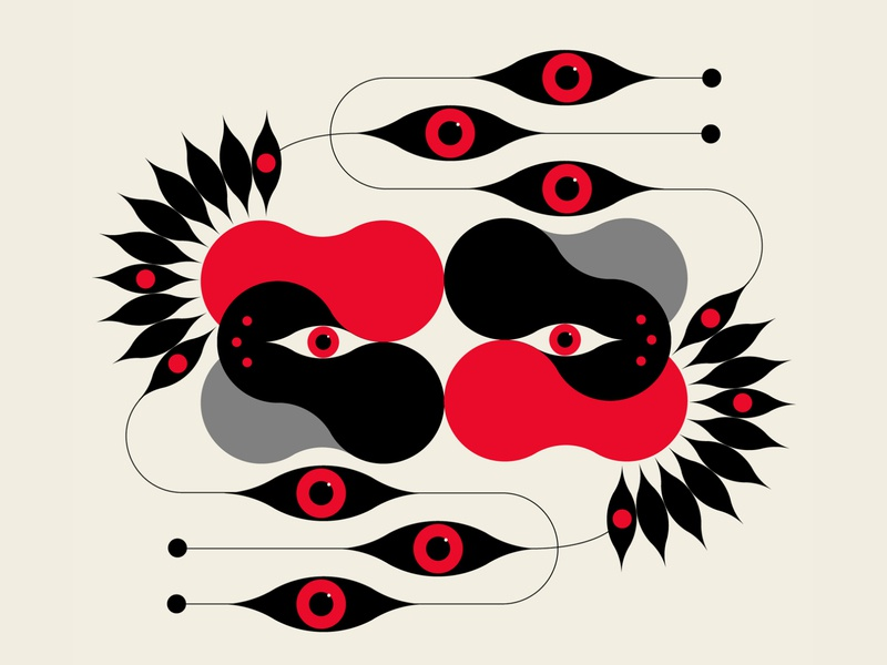 SEEN patterns design abstract design black red vector geometric illustration