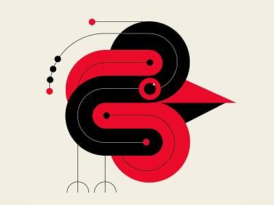 Early Bird identity branding bird illustration abstract design black red design vector geometric illustration