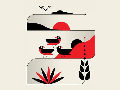 Westward, ho desert clouds sunset birds abstract design black red design vector geometric illustration