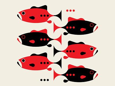 Gone Fishing fish patterns design black red abstract design geometric illustration