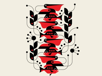 Kelp Wanted trufcreative patterns black red design abstract design geometric illustration