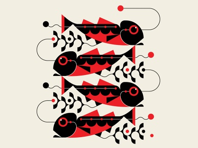 Herringbone patterns design muralart fish black red abstract design geometric illustration