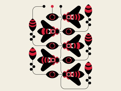 Hive Mind nature black red insects bees pattern abstract design vector geometric illustration