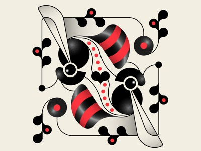 Pollination trufcreative patterns black red valentinesday bees insects abstract design geometric illustration