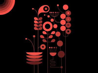 Is there life on Mars? design trufcreative black orange patterns plants abstract design geometric illustration