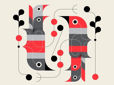 Rotisserie trufcreative abstract design design geometric illustration red black