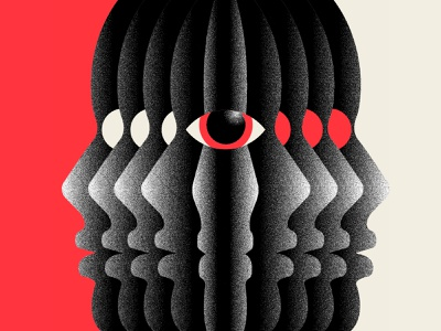 Revolution faces silhouette repeat pattern texture eyes abstract design illustration red black