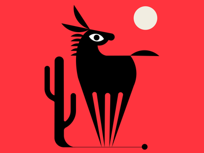 Ass Backwards design abstractdesign cactus donkey vector geometric red black illustration