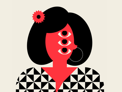 Power Flower female flower character people pattern vector design geometric red black illustration
