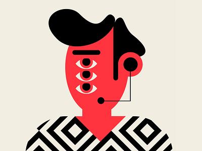 AUTO WARRANTY design patterns people geometric red black illustration