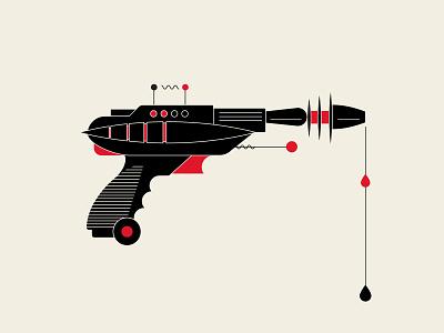 Malfunction laser gun ray gun vector illustration black red vector illustration