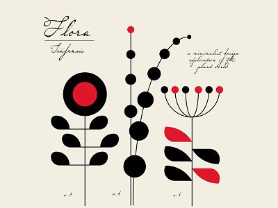FLORA Series: plants 3-5 plants flowershop botany branding identity beige red black geometric design illustration