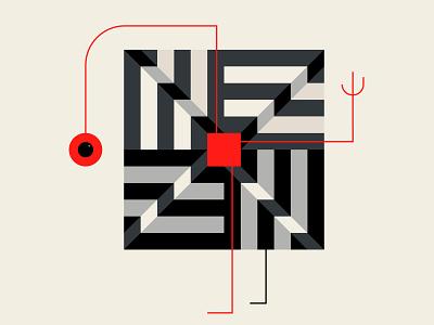 Geosapien abstract illustration graphic  design repeat pattern patterns character art red black design branding geometric illustration
